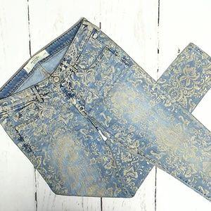 The A&E Super Skinny Jean Antiqued Silver Brocade